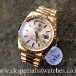 UK Specialist Watches have a new model Rolex Day-Date president 118238 in 18ct yellow gold with a silver dial