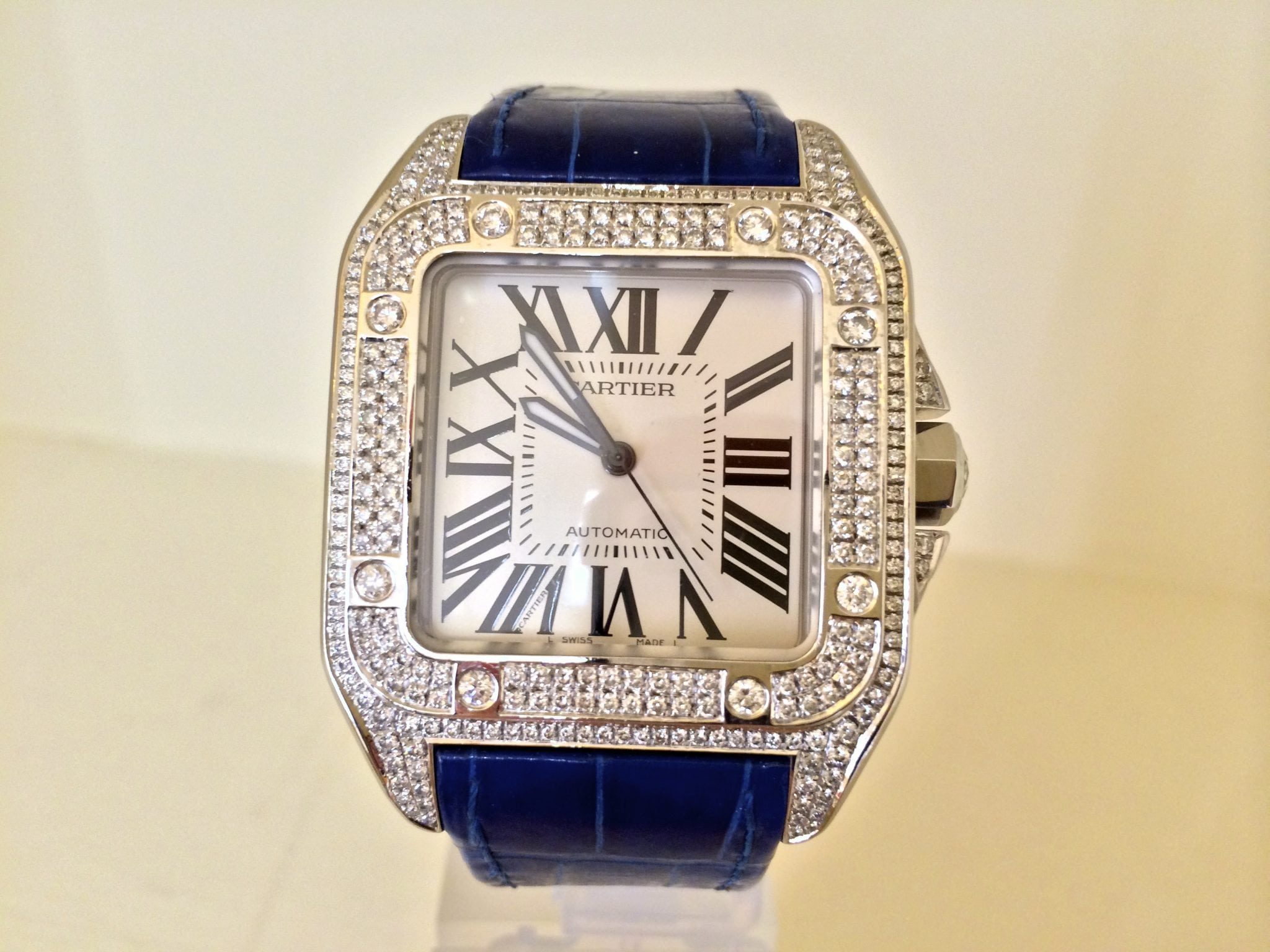 "Ladies Rolex Watches Uk >> Cartier Santos 100 Large size – Automatic.""Diamond afterset"" – UK Specialist Watches"