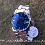 UK Specialist Watches have a Rare Rolex Air-King date 5700 with a blue dial, complete with box and papers.