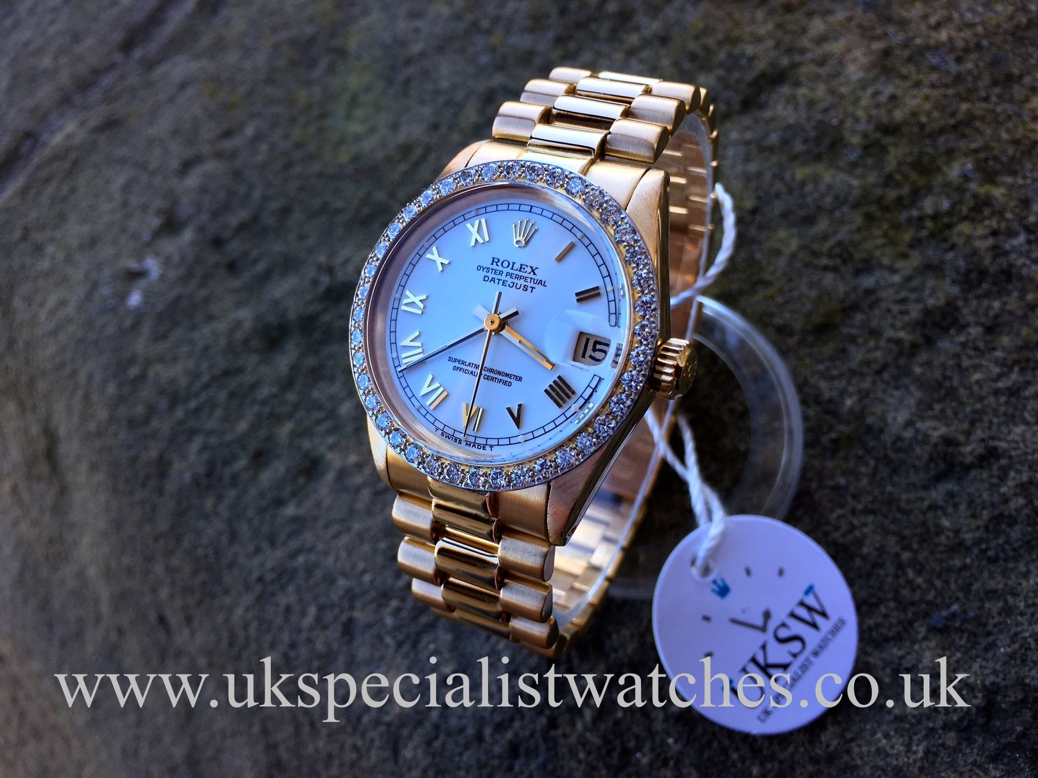 Rolex Datejust 18ct Gold 31mm Factory Diamond Bezel