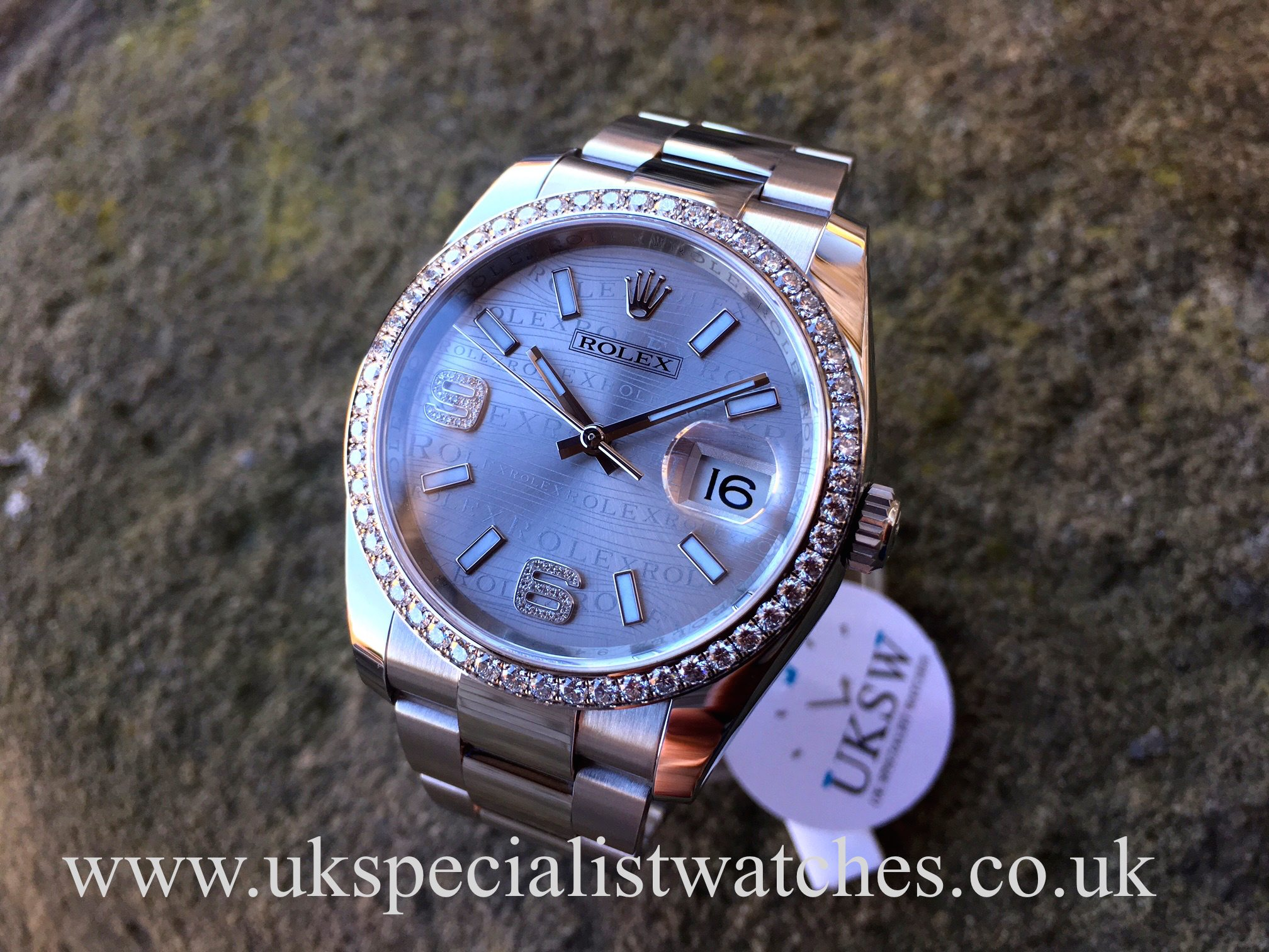 Rolex Datejust 36mm Diamond Rhodium Wave Dial 116244