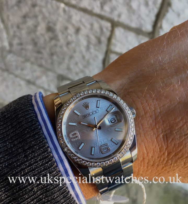 UK Specialist Watches have a Rolex Datejust 36mm - Diamond Rhodium Wave Dial - 116244