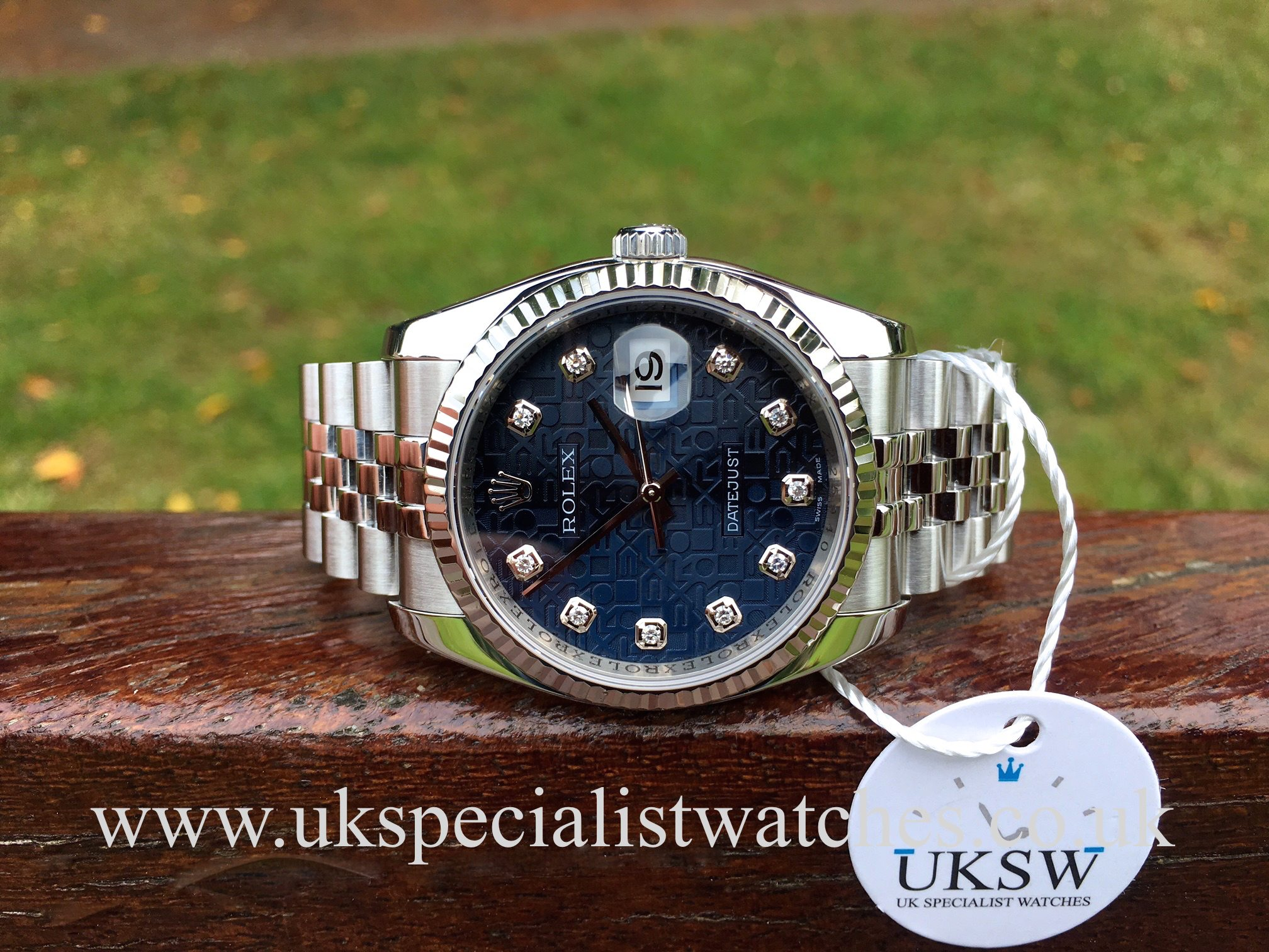 79554e82c0d U.K Specialist Watches have a Rolex Datejust 116234 with a factory Rolex  blue diamond jubilee dial