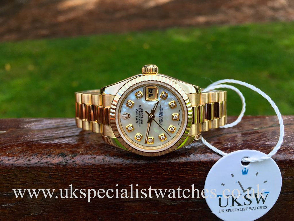 Rolex Datejust Ladies 18ct Gold – MOP Diamond Dial – 179178