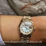UK Specialist Watches have a solid 18ct ladies Rolex Datejust with a mother of pearl diamond dot dial - 179178
