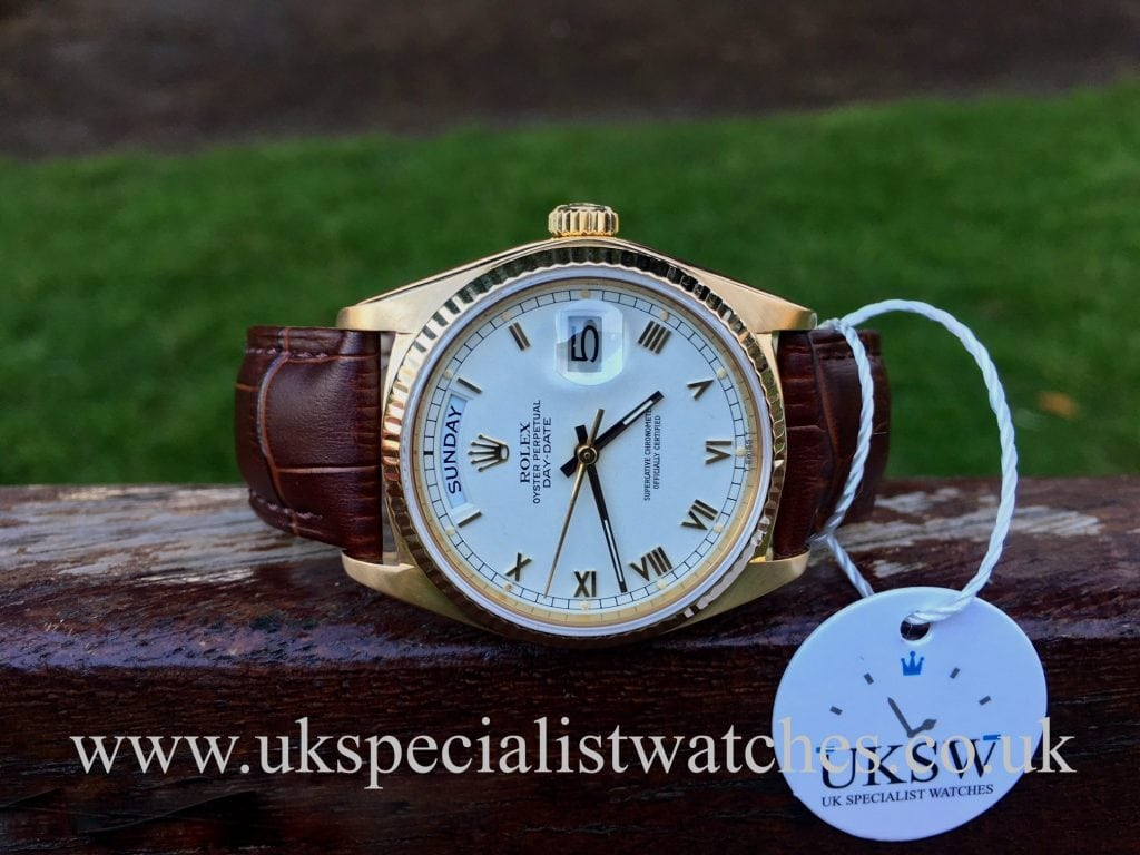 Rolex Day-Date 18038 – 18ct Yellow Gold – White Roman Dial – Vintage