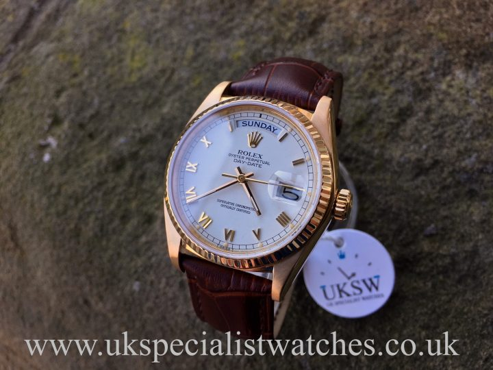 UK Specialist Watches have a Rolex Day-Date 18038 - 18ct Yellow Gold - White Roman Dial - Vintage 1978