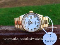 UK Specialist Watches have a Rolex Day-Date in solid 18ct yellow gold with a stunning white dial.