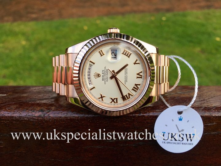 UK Specialist Watches have a Rolex Day-Date II - 18ct Everose Gold - Ivory Dial – 21923