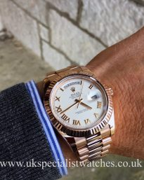UK Specialist Watches have a Rolex Day-Date II - 18ct Everose Gold - Ivory Dial – 219235