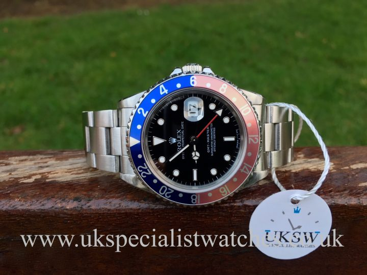 UK Specialist Watches have a Rolex 16700 GMT Master pink lady Pepsi bezel complete with box and papers.