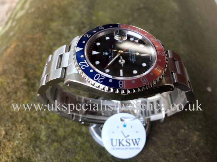 UK Specialist Watches have a Rolex 16700 GMT Master pink lady Pepsi bezel complete with box and papers