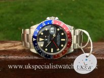 UK Specialist Watches have a mint Rolex 16750 GMT Master with a pepsi bezel in totally original condition with box and rolex service receipts.