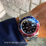 UK Specialist Watches have a beautiful 2006 Rolex GMT Master II Pepsi bezel 16710 - complete with box and papers.