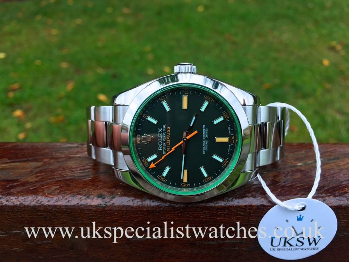 UK Specialist Watches have a full set 2009 Rolex Milgauss with a green sapphire crystal glass - 116400GV