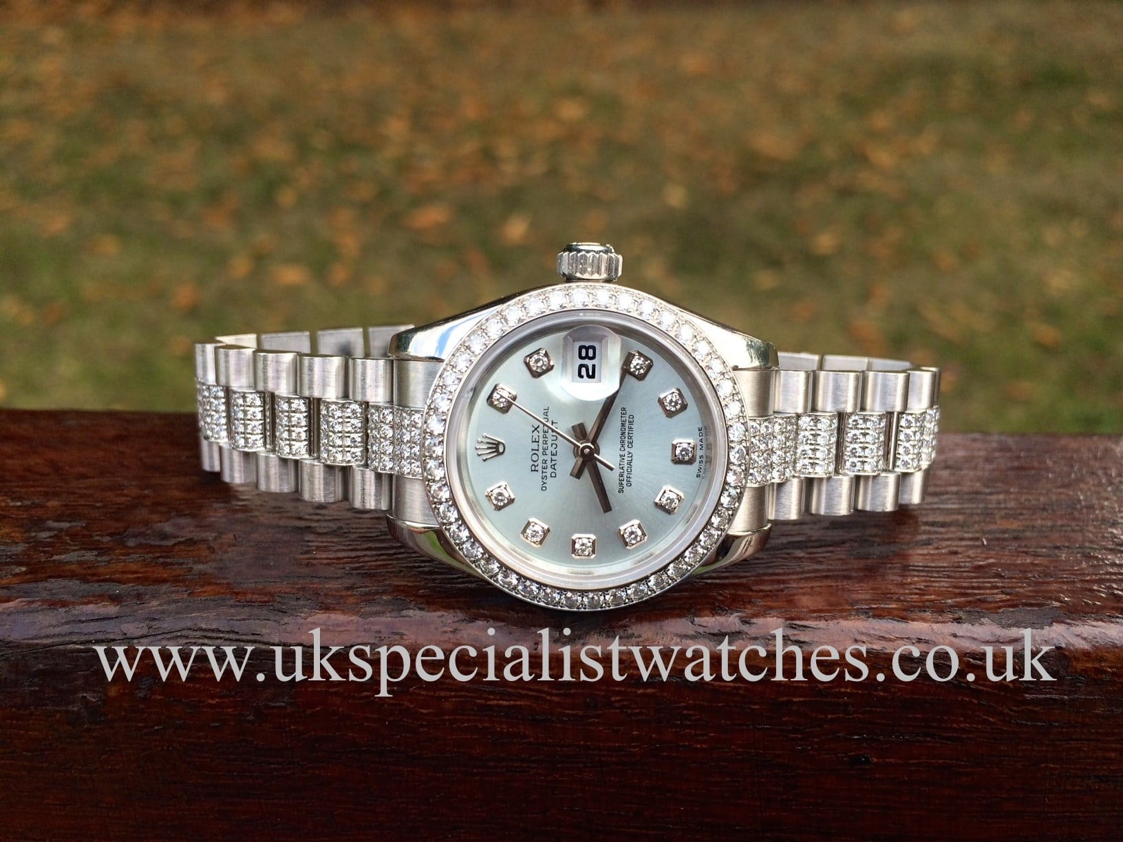 a189e8b78bf Rolex President Platinum all original Factory Diamond set ladies date just
