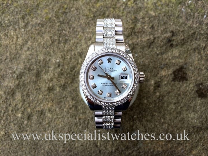 Rolex President Platinum all original Factory Diamond set ladies date just