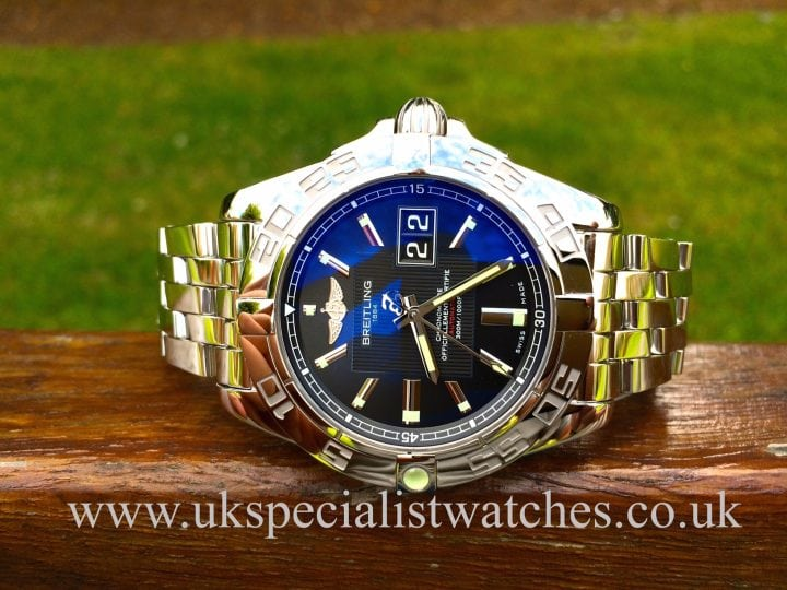 For sale at UK specialist Watches a stunning Breitling Galactic 41Gents sports watch