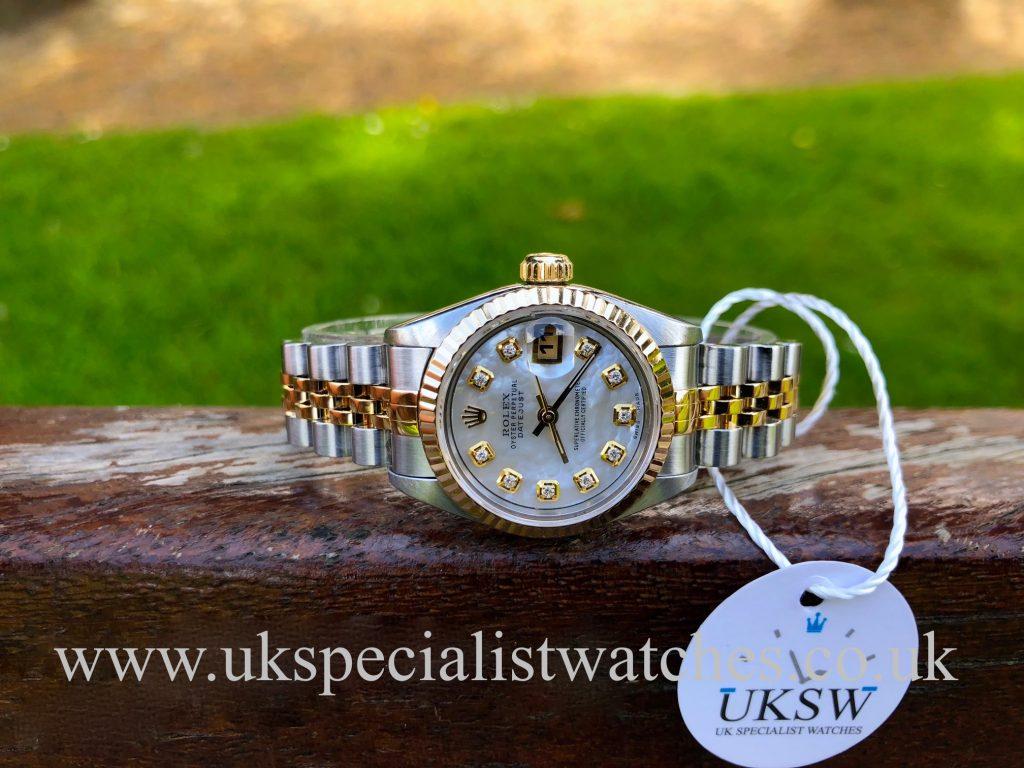 Rolex Ladies Datejust – Steel & 18ct Gold – MOP Diamond Dial – 69173