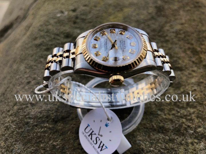 UK Specialist Watches have a Rolex Ladies Datejust – Steel & 18ct Gold – MOP Diamond Dial – 69173