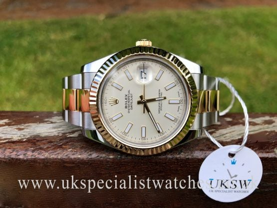 ROLEX DATEJUST II STEEL & 18CT GOLD – 41MM WHITE DIAL – 116333