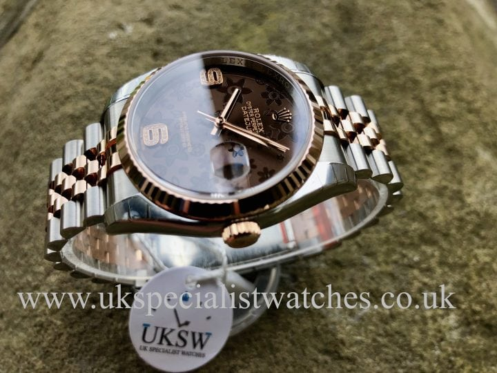 ROLEX DATEJUST ROSE GOLD & STEEL FLORAL DIAMOND -116231- NEW