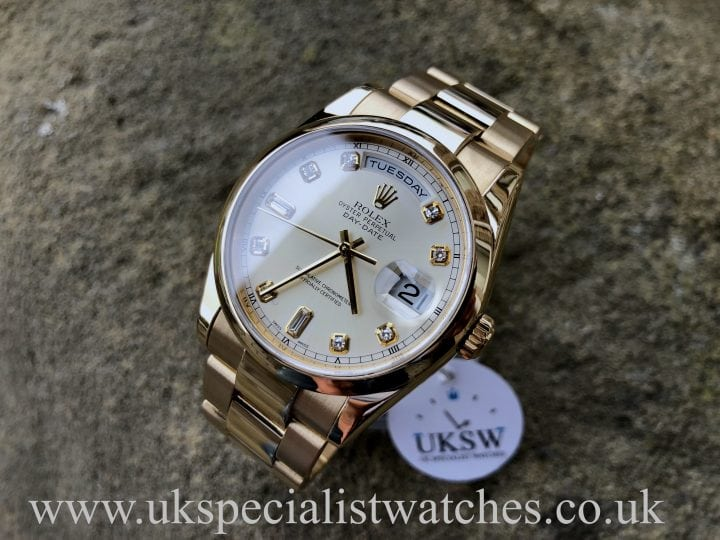 ROLEX DAY-DATE OYSTER – DIAMOND BAGUETTE DIAL -18CT GOLD – 118208