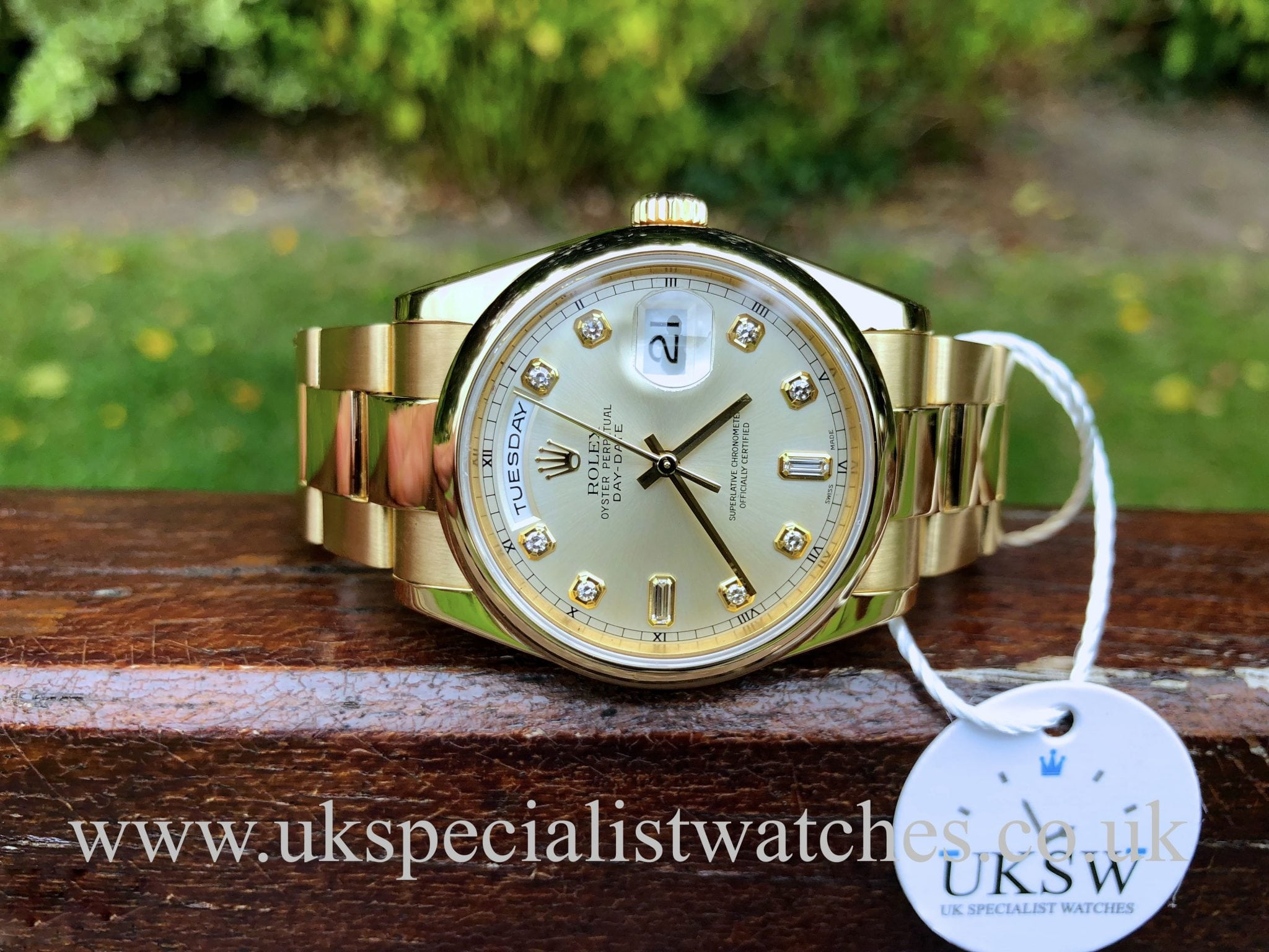 a101c2ff59e ROLEX DAY-DATE OYSTER – DIAMOND BAGUETTE DIAL -18CT GOLD – 118208 – UK  Specialist Watches