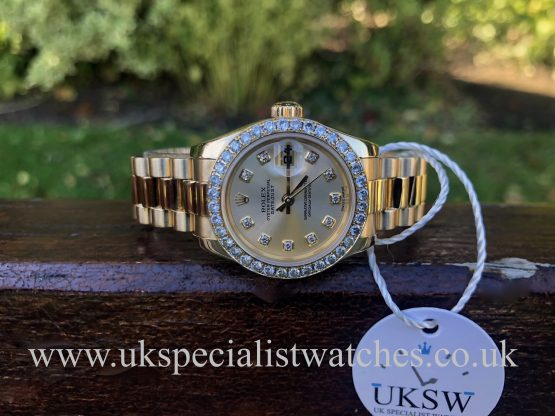 ROLEX DATEJUST LADIES 18CT GOLD – DIAMOND BEZEL / DIAL – 179178