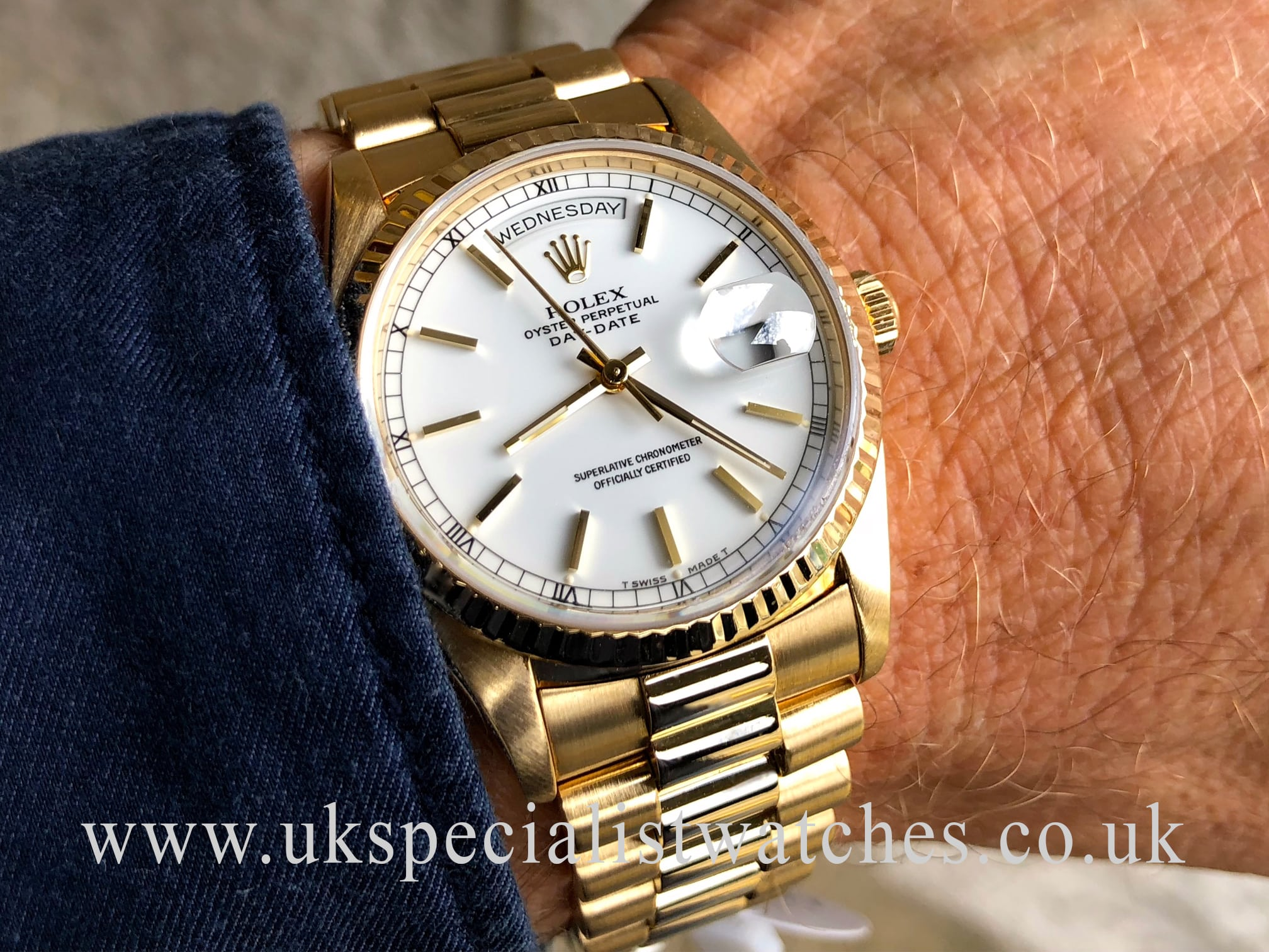 Ladies Rolex Watches Uk >> ROLEX DAY DATE PRESIDENT 18CT GOLD GENTS –WHITE DIAL 18238 ...