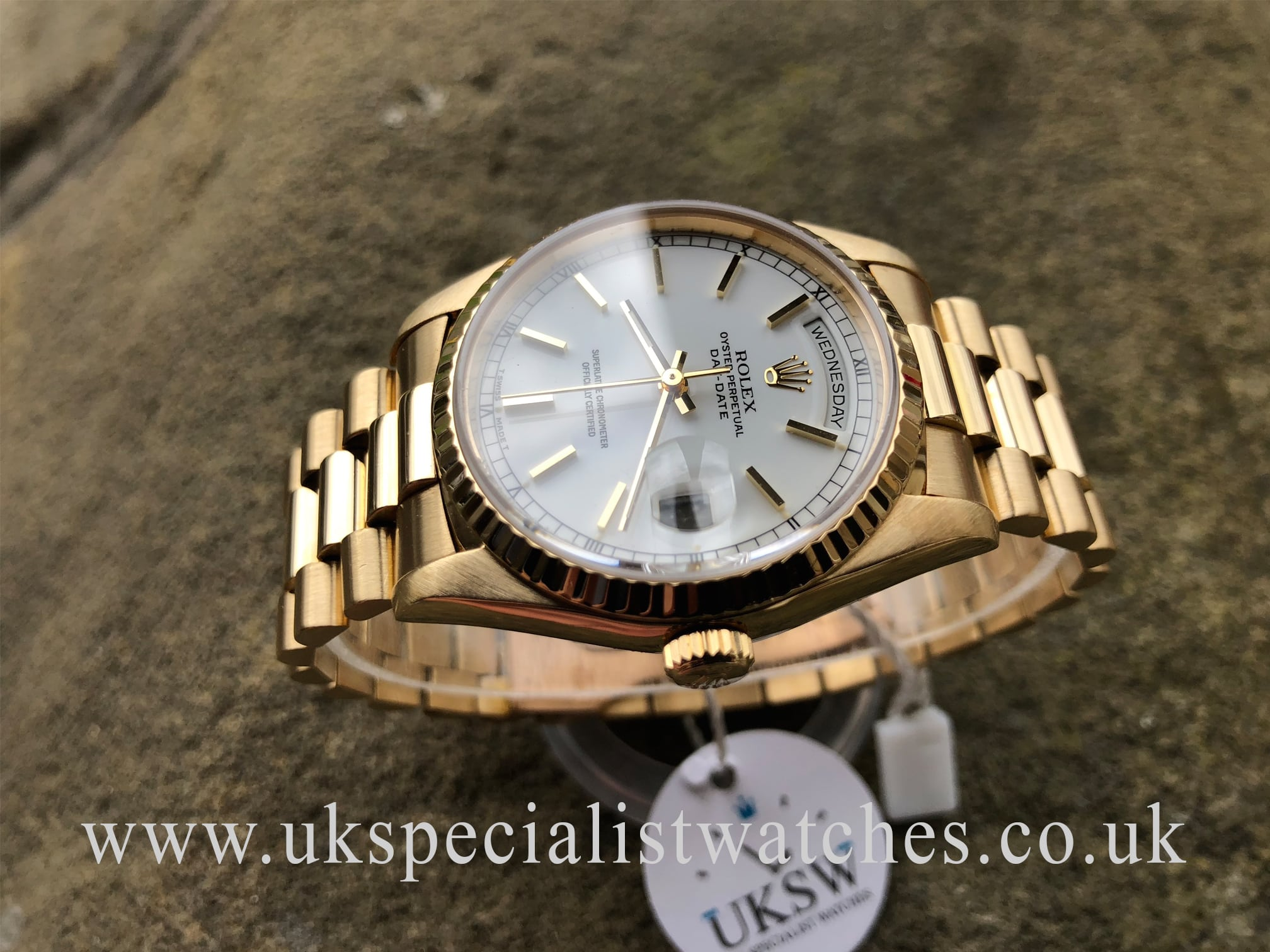 Rolex Day Date President 18ct Gold Gents White Dial 18238