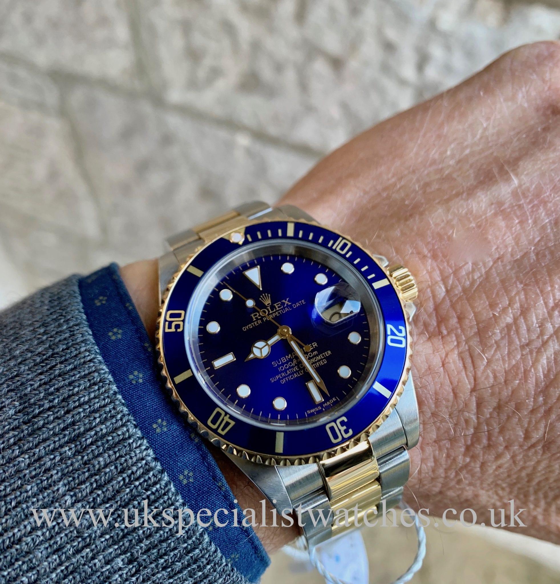 Rolex Submariner Date Blue Dial Steel Gold 16613 Full Set