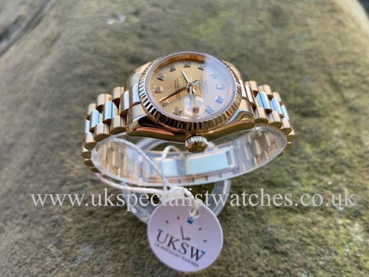 ROLEX DATEJUST 18CT GOLD PRESIDENT – DIAMOND DIAL – 179178