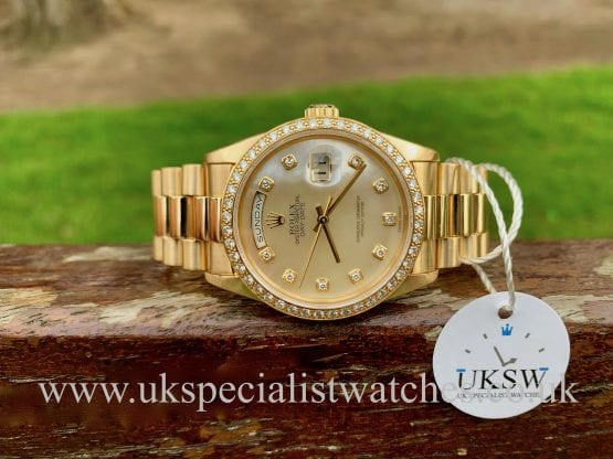ROLEX DAY DATE – 18CT GOLD – FACTORY DIAMOND SET – 18238