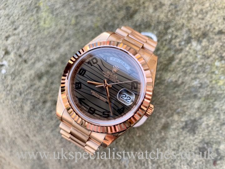 Rolex Day-Date II - 18ct Rose Gold - 41mm Wave Dial - 218235 - UNWORN