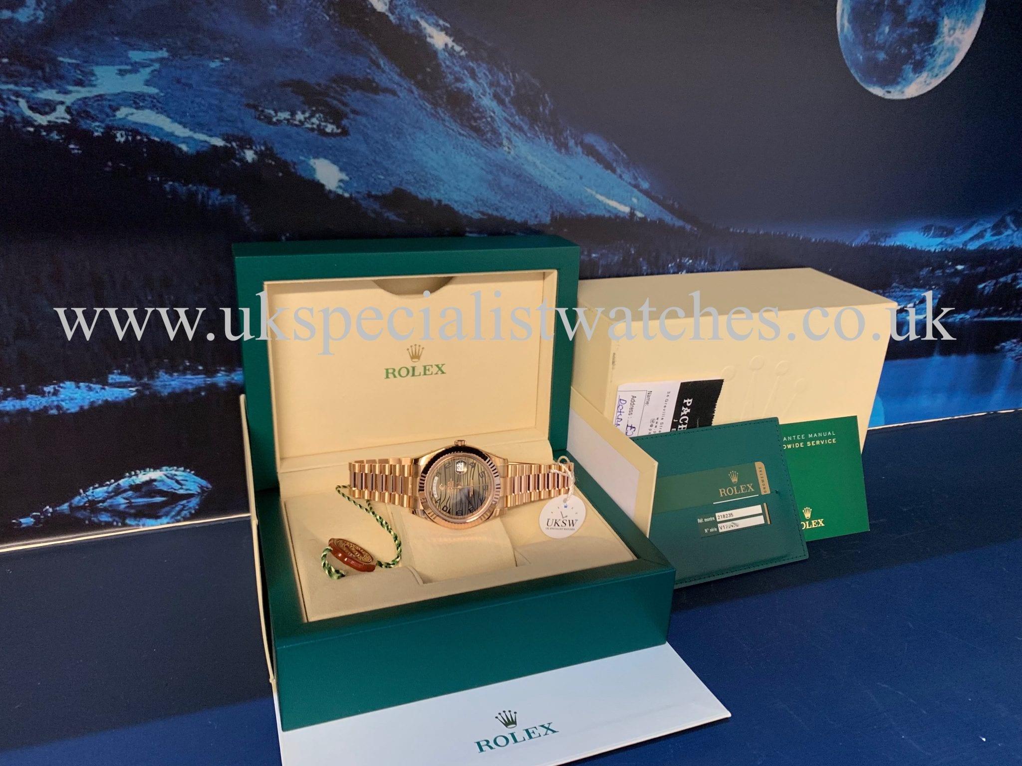 Rolex Day-Date II - 18ct Rose Gold - 41mm Wave Dial - 218235 - UNWORN