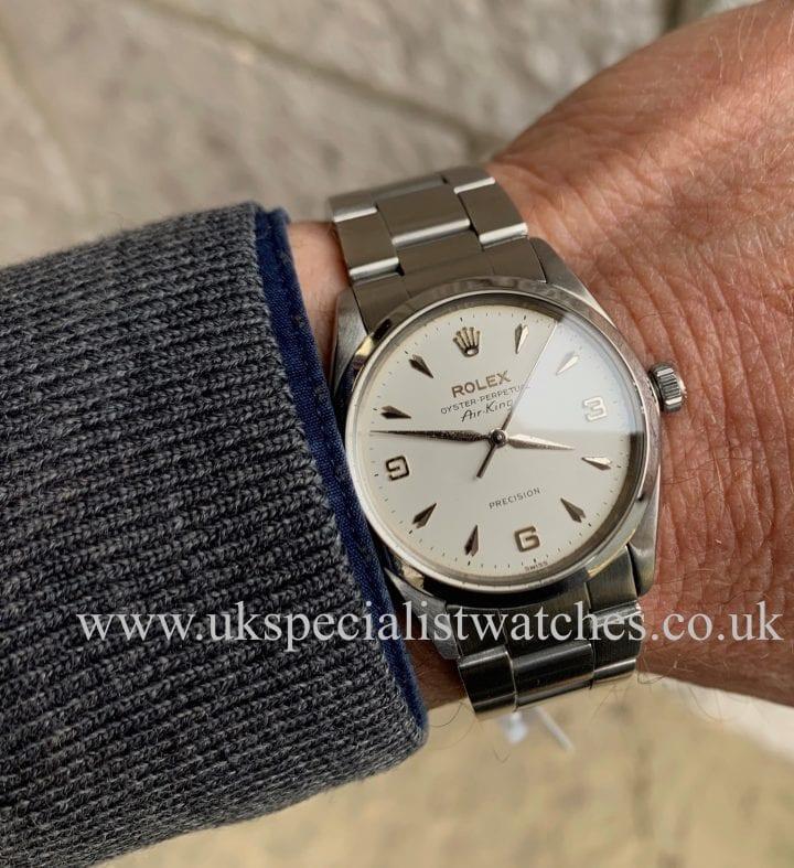 rolex air king model 5500 3-6-9 arrow head dial - 1968 vintage watch silver bracelet