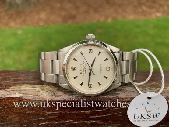 rolex air king model 5500 3-6-9 arrow head dial - 1968 vintage watch silver bracelet