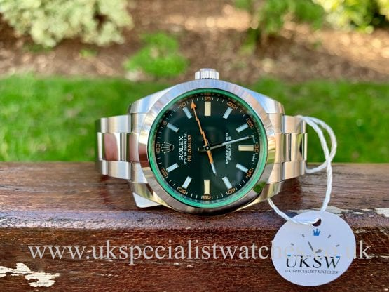 ROLEX MILGAUSS – GREEN GLASS – 40MM – 116400GV – UNWORN
