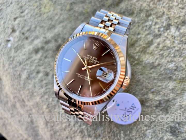 ROLEX DATEJUST 18CT GOLD & STEEL – CHOCOLATE DIAL – 16233ROLEX DATEJUST 18CT GOLD & STEEL – CHOCOLATE DIAL – 16233