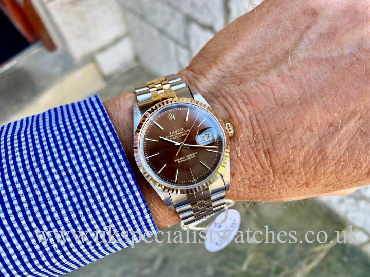ROLEX DATEJUST 18CT GOLD & STEEL – CHOCOLATE DIAL – 16233