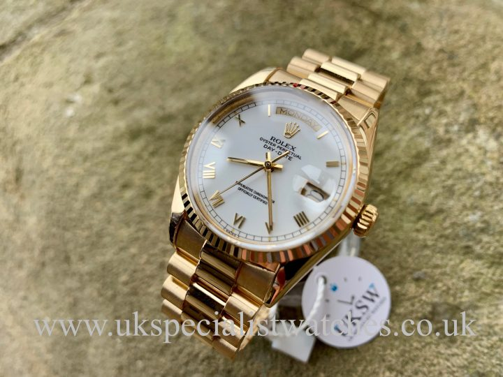 ROLEX DAY DATE – 18CT YELLOW GOLD – WHITE DIAL – 18038
