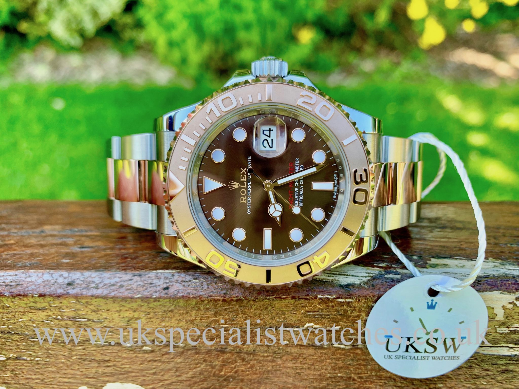 ROLEX YACHT-MASTER 18CT ROSE & STEEL - CHOCOLATE DIAL - 116621