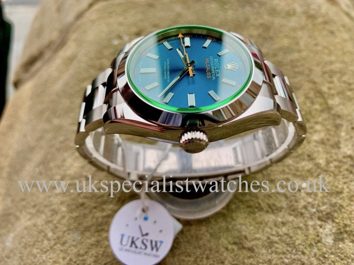 NEW 2019 BLUE DIAL ROLEX MILGAUSS – GREEN GLASS – 40MM – 116400GV - UNWORN
