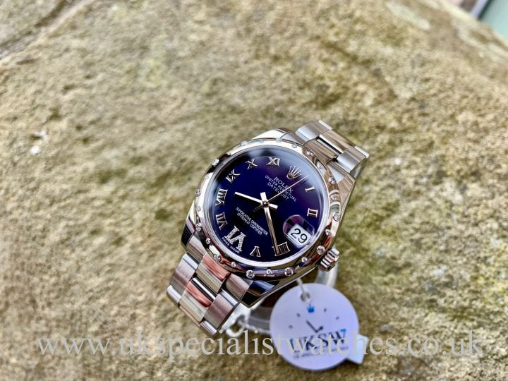 Rolex Datejust Midsize 31mm Purple Dial - 18ct Diamond Bezel - 178344