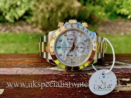 Rolex Daytona Steel & 18ct Gold – Diamond MOP Dial – 116523
