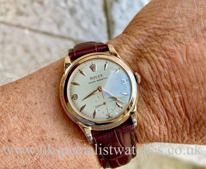 ROLEX 10CT ROSE GOLD SHOCK RESISTING - HONEYCOMB DIAL – VINTAGE 1956