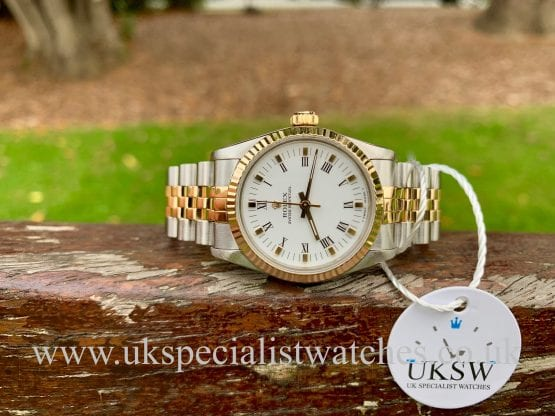 ROLEX DATEJUST MIDSIZE 31MM – STEEL & 18ct GOLD WHITE DIAL – 67513