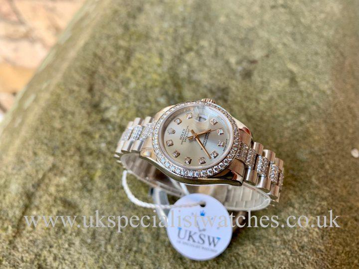 ROLEX LADIES DATEJUST PLATINUM - FACTORY DIAMOND SET - 179136