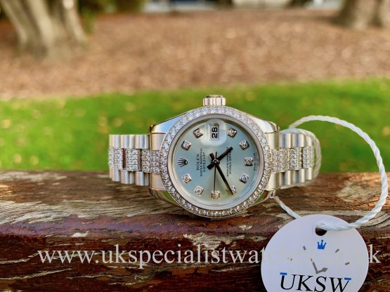 ROLEX LADIES DATEJUST PLATINUM - FACTORY DIAMOND SET - 179136